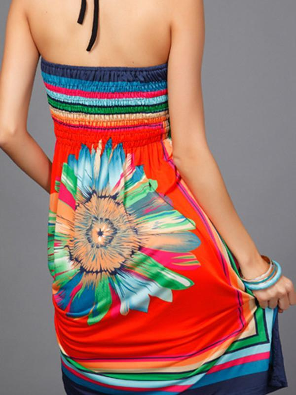 Women Halter Neck Vintage Strapless Boho Party Bandage Dress