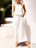 White Halterneck Wide Leg Long Jumpsuits