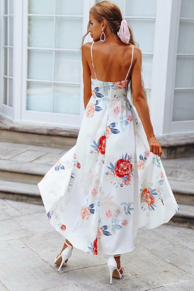 Printed Backless Beach Strap Dresses