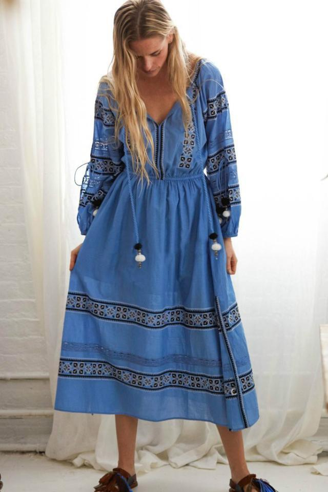 Bohemian Embroidered Pom-pom Dress