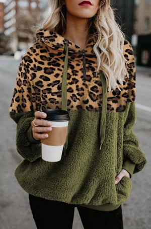 Leopard Stitching Pocket Plush Sweatshirt-5color
