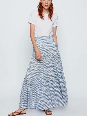 Blue Plaid Floral Printed Loose Elastic Boho Maix Skirt