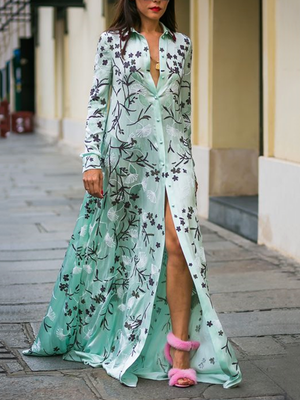 Bohemia Printed Long Sleeves Shirt Maxi Dress