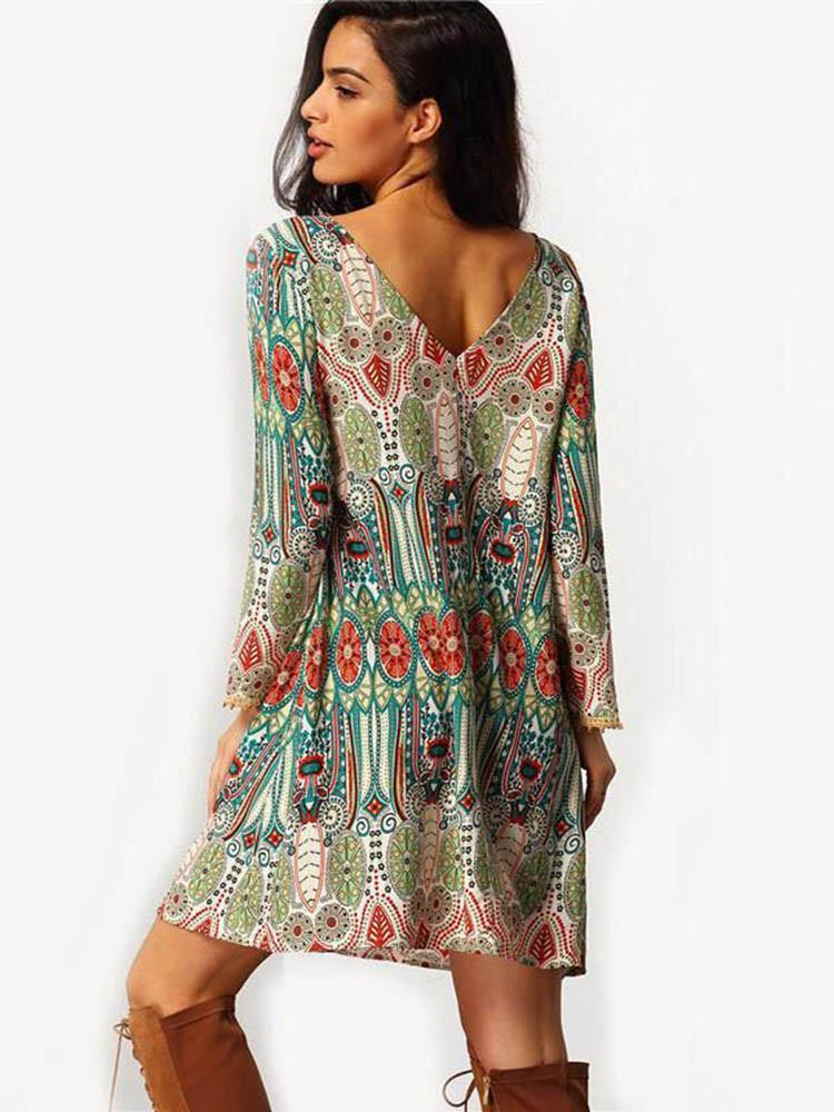Women Mini Long Sleeve Vintage Ethnic Floral Beach Loose Dress