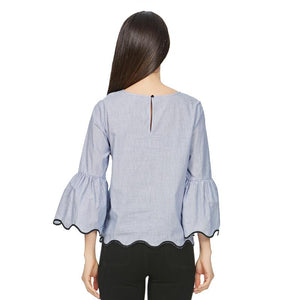 Women embroidery loose shirt three quarter flare sleeve Oneck blouses