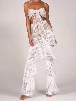 Fashion Off The Shoulder Tassel Sleeveless Suit Sets