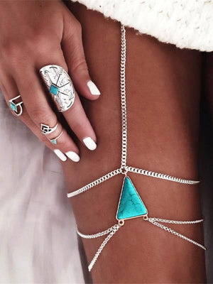 Sexy Multilayer Triangle Turquoise Leg Chains Accessories