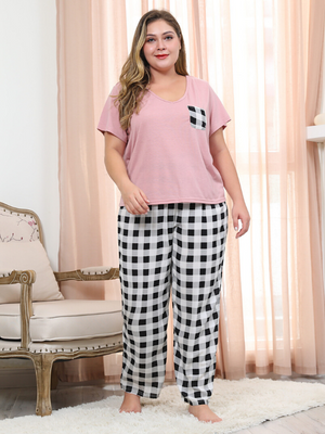 Summer Pink Casual V-Neck Two Pcs Tops and Long Loose Plaid Sets XL-4XL