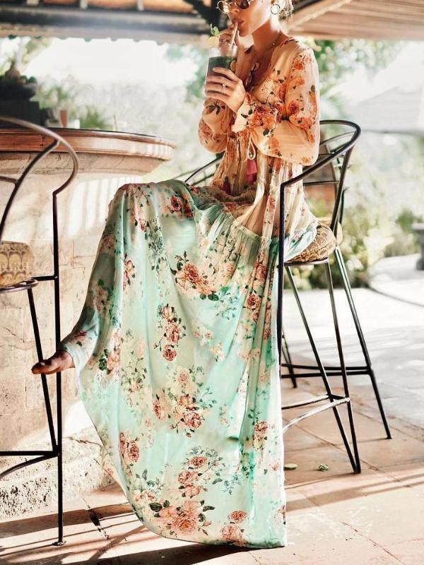 Bohemian Splicing High-Waist Maxi Dresses