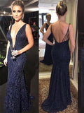 Deep V Neck Off Laced Back Sequin Navy Mermaid Evening Dress