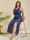 Sexy Embroidery One Piece See Through Mesh Lace Nightgown XL-4XL