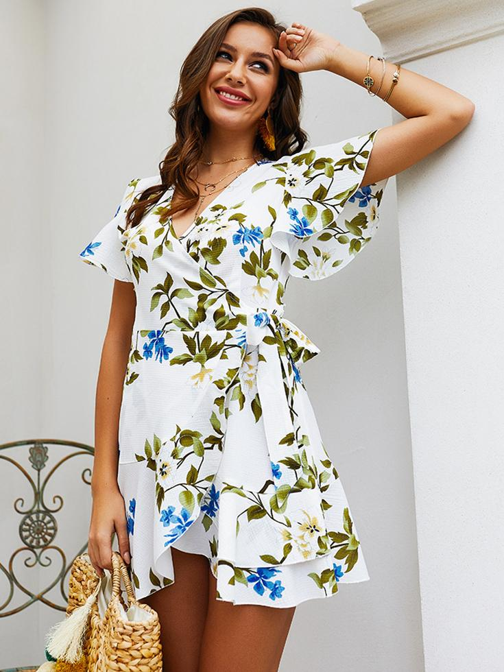 Short Sleeve Floral Printed V-Neck Hem Mini Dress