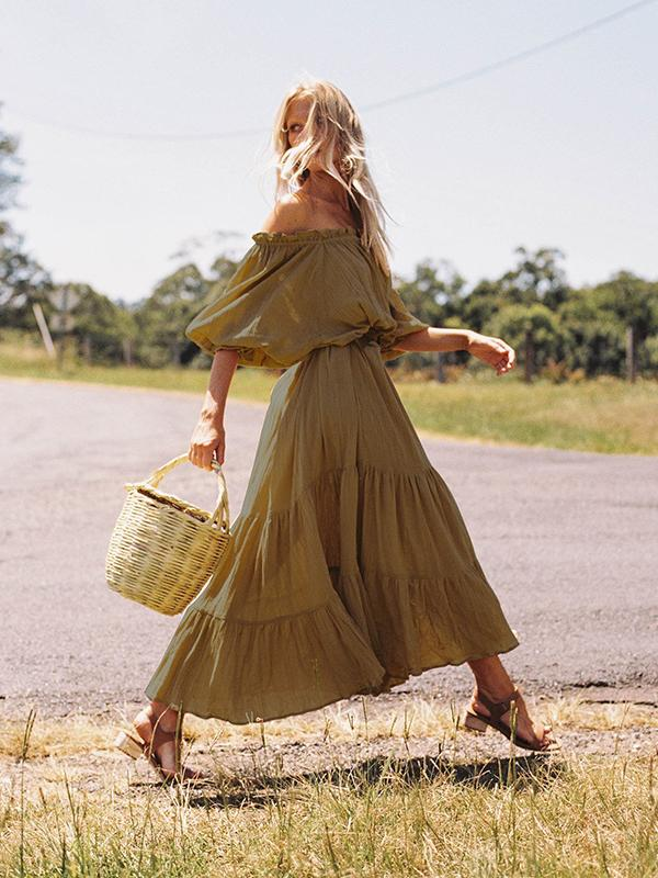 One-shoulder Collar Loose Ruffled Bat Sleeves Maxi Dress