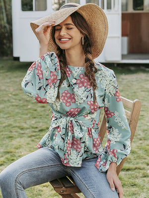 Casual Long sleeve Floral Print Blouse