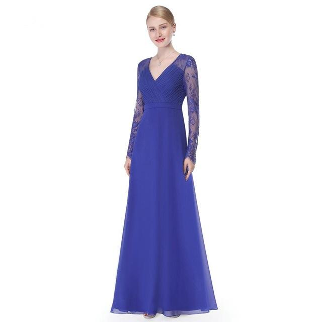 Women Elegant V-neck Long Sleeve Lace Plus Size Evening Dress