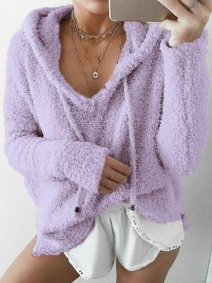 Elegant Fluffy  Loose Fleece Drawstring Pullover Tops