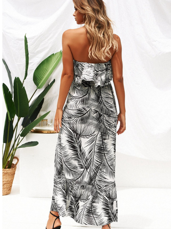 Leaf Print Off-shoulder  Midi Dress