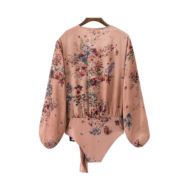 Vintage floral playsuits long lantern sleeve casual Rompers