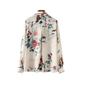 Women vintage floral blouse long sleeve shirts casual Tops