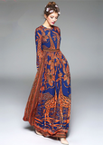 Printed Dress Round Neck Long-Sleeved Boho Vintage Dress