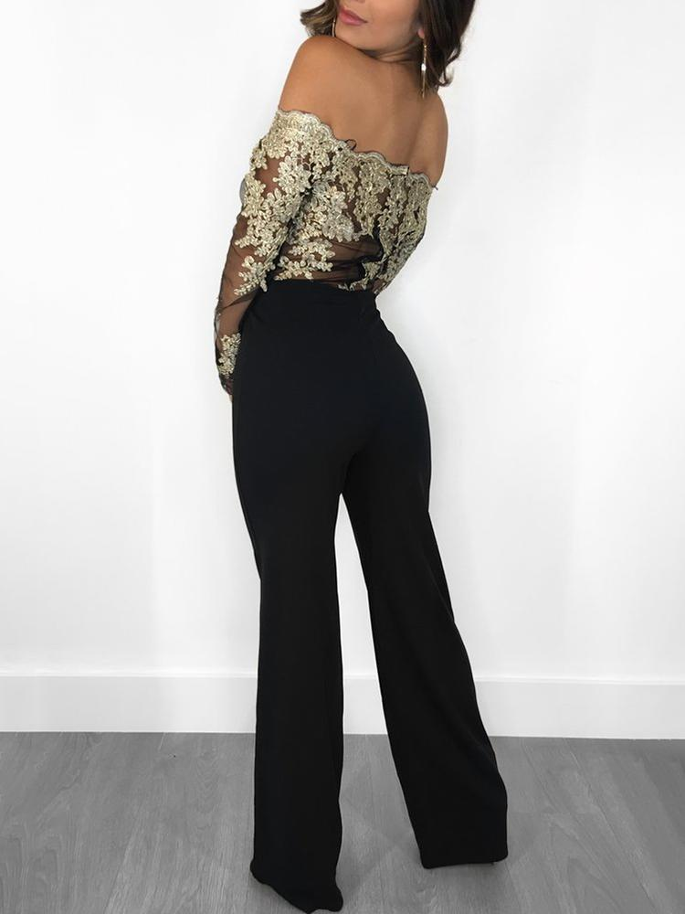 Sexy Embroidery Off Shoulder Wide Leg Jumpsuit
