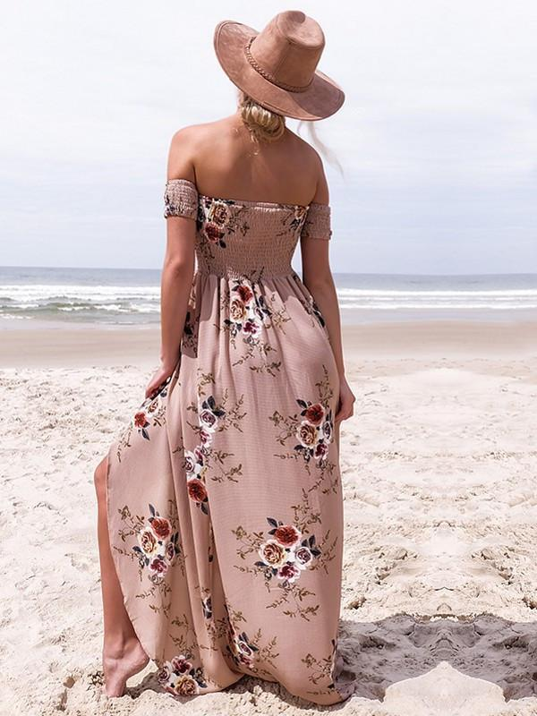 Women Off Shoulder Beach Summer Floral Bohemian Dress