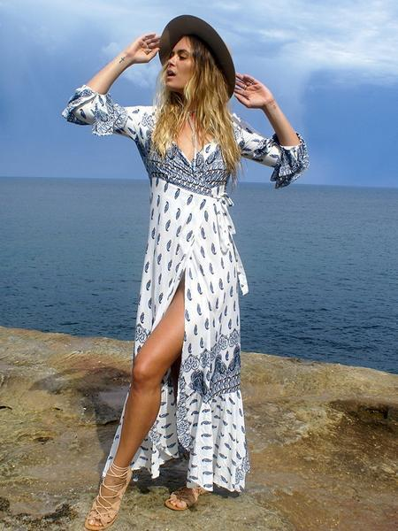 Women Bandage High Split Long Sleeve Bohemian Style Dresses