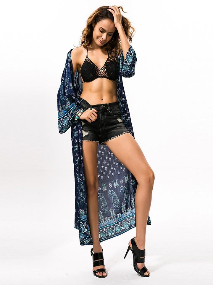 Summer Boho Women Sexy Long Casual Beach Kimono