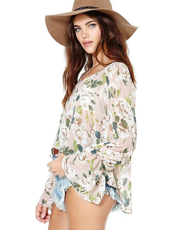 Summer Women Floral Blouse Long Flare Sleeve Chiffon Top
