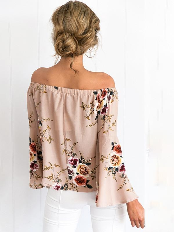 Women Floral Shirt Slash Neck Off Shoulder Flare Sleeve Casual Tops