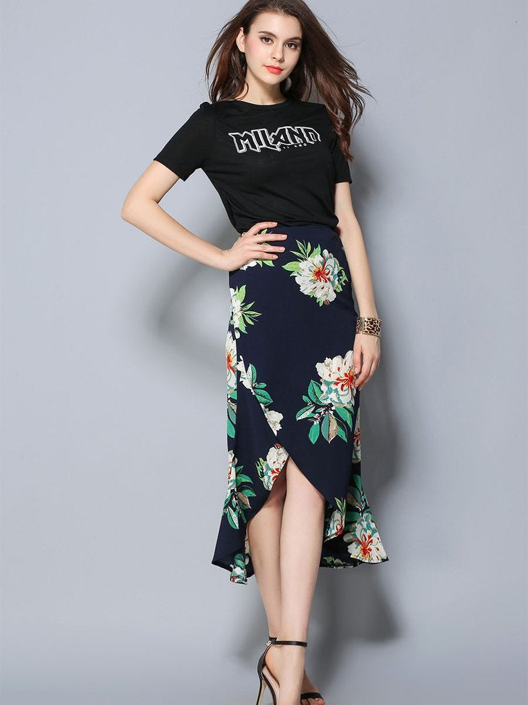 Women Summer  Blue Split Skirts Sexy High Waist Slim Bottom