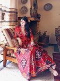 Women cotton thin V-neck  big  bohemian Dress