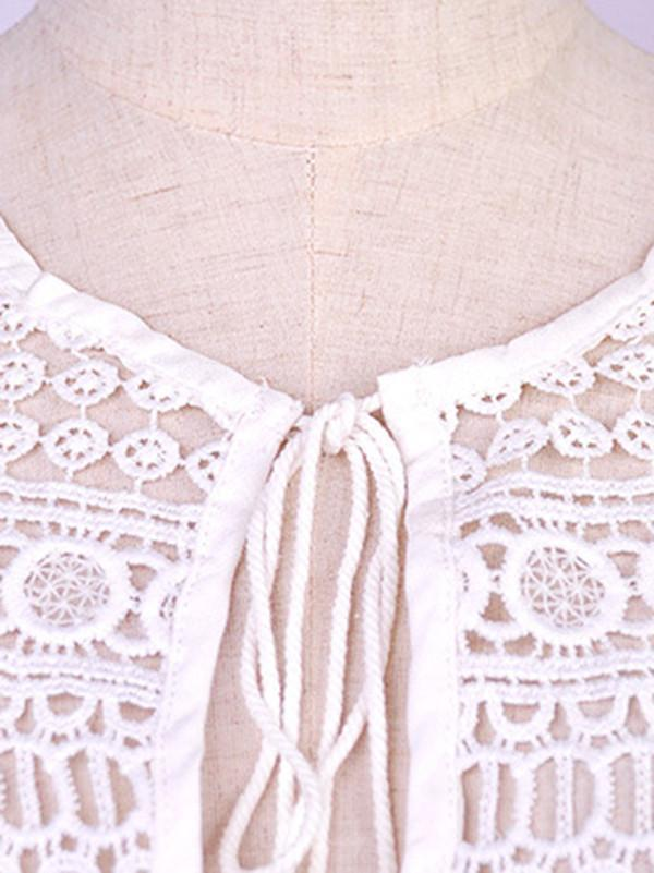 Women White Cotton Lace V neck Beach Dress
