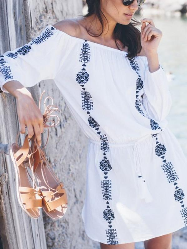 Women Plus Size Summer Loose Beach Embroidery Dress