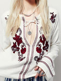 V-neck Embroidery Women Blouses Shirts Full SleeveTop