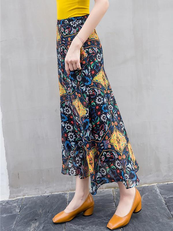 Bohemia Beach skirt waist two piece Floral Chiffon Bottom