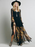 Women Black Chiffon Sexy Party High Slit Dress
