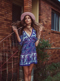 Women Sexy Summer Boho Print Beach V Neck Beach Dress