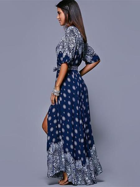 Women Half Sleeve Printed V Neck Beach Party Long Dress