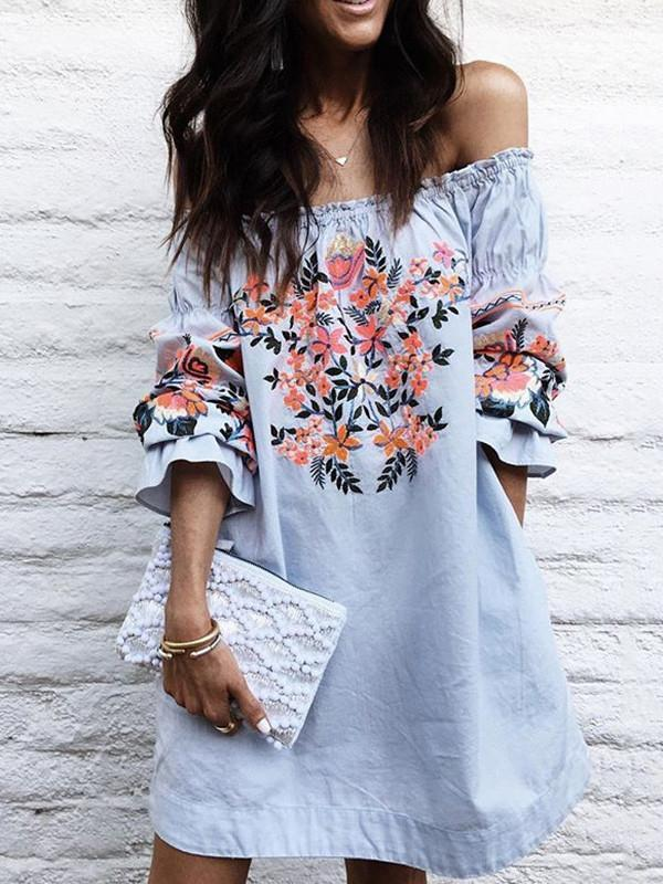 Women Floral Off Shoulder Mini Slash Neck A-Line Ruffled Dress