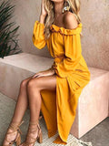 Women Belted Off Shoulder Long Sleeve Split Dress