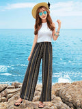 Summer Women Wide Leg Long Pants Floral Beach Bottom