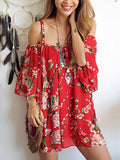 Women Strap Boho Off Shoulder Chiffon Blouse Floral Summer Tops