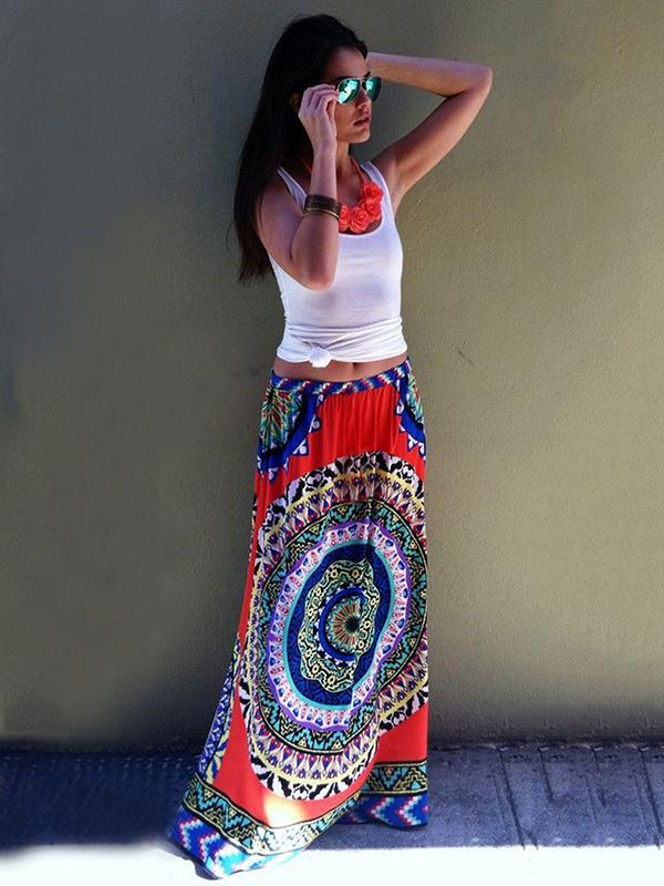 Women  Printing Skirts Bohemian Beach Bottom