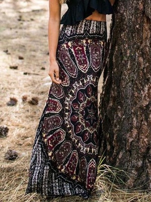 Women Bohemian Skirt Vintage Style Maxi Long Skirt Bottom