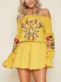 Women Cotton Yellow Mini Dress Beach Off Shoulder Bottom