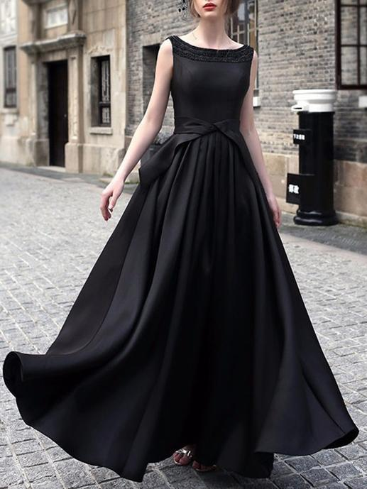Waisted Sleeveless Evening Maxi Dress