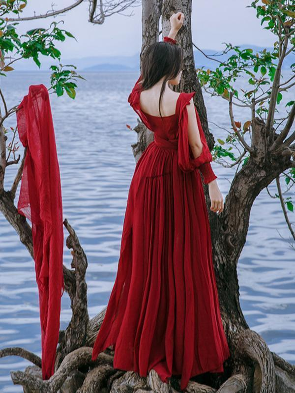 Vintage beach Red Cotton Linen V-neck Maxi Dress