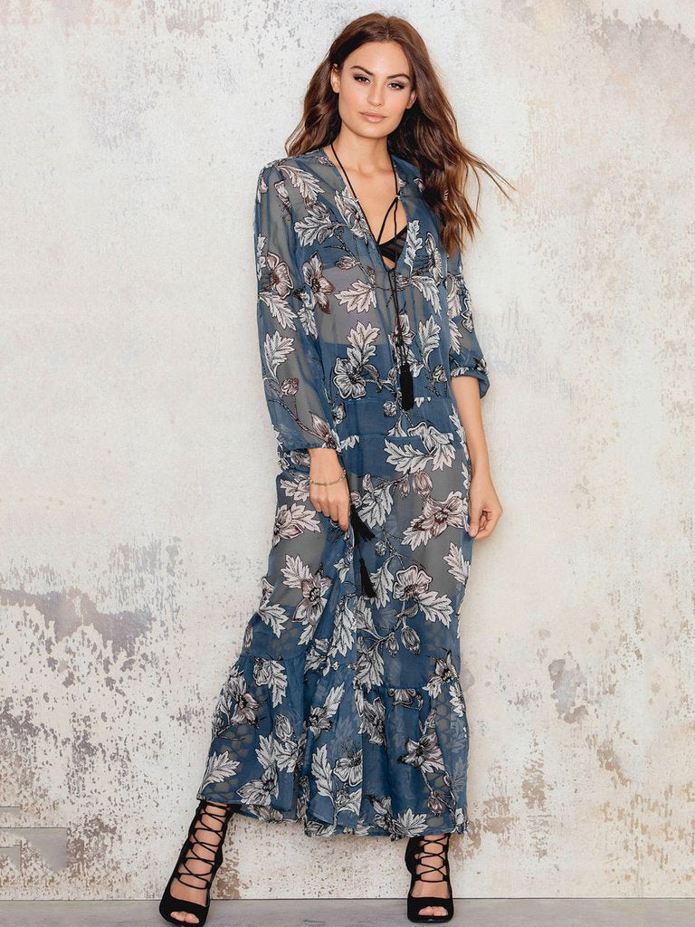 Women Boho flower print chiffon maxi sexy V neck party Dress