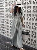 Solid Color V-neck Bohemia Maxi Dress